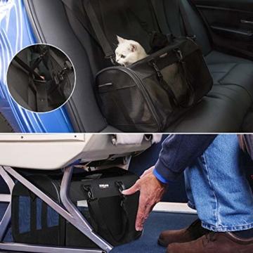Songwin Hundetasche, Hundebox, faltbar Hundetransportbox Auto Transporttasche für Haustiere,Katzenbox,Grau (Katzentragetasche) - 3