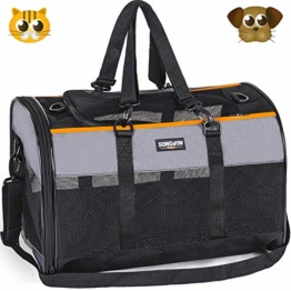 Songwin Hundetasche, Hundebox, faltbar Hundetransportbox Auto Transporttasche für Haustiere,Katzenbox,Grau (Katzentragetasche) - 1