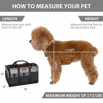 Songwin Hundetasche, Hundebox, faltbar Hundetransportbox Auto Transporttasche für Haustiere,Katzenbox,Grau (Katzentragetasche) - 4