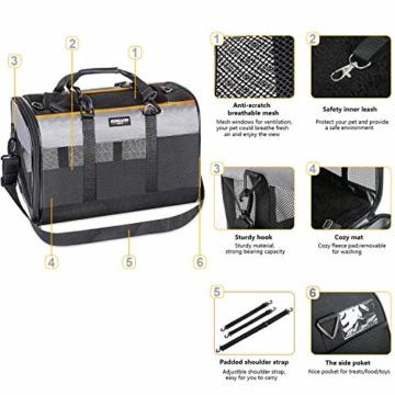 Songwin Hundetasche, Hundebox, faltbar Hundetransportbox Auto Transporttasche für Haustiere,Katzenbox,Grau (Katzentragetasche) - 5