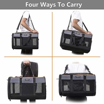 Songwin Hundetasche, Hundebox, faltbar Hundetransportbox Auto Transporttasche für Haustiere,Katzenbox,Grau (Katzentragetasche) - 6