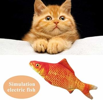 Sunshine smile elektrische Fische Katze,katzenminze Fisch Spielzeug,katzenspielzeug Fisch elektrisch beweglich,Simulation Fisch,elektrische Fische plüsch,Katze interaktive Spielzeug (D) - 4