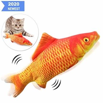Sunshine smile elektrische Fische Katze,katzenminze Fisch Spielzeug,katzenspielzeug Fisch elektrisch beweglich,Simulation Fisch,elektrische Fische plüsch,Katze interaktive Spielzeug (D) - 1