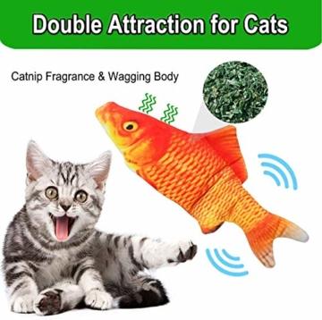 Sunshine smile elektrische Fische Katze,katzenminze Fisch Spielzeug,katzenspielzeug Fisch elektrisch beweglich,Simulation Fisch,elektrische Fische plüsch,Katze interaktive Spielzeug (D) - 6