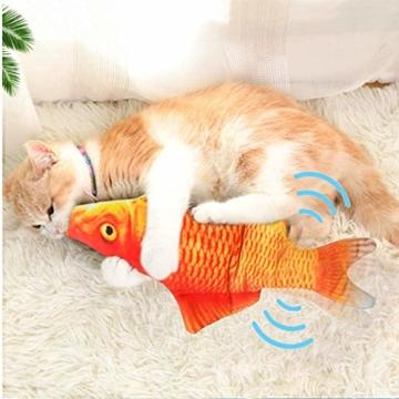 Sunshine smile elektrische Fische Katze,katzenminze Fisch Spielzeug,katzenspielzeug Fisch elektrisch beweglich,Simulation Fisch,elektrische Fische plüsch,Katze interaktive Spielzeug (D) - 7