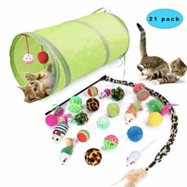 Sunshine smile katzenspielzeug Set mit katzentunnel,Katzenspielzeug Set mit Bälle Federspielzeug,katzenspielzeug Pack,Kätzchen Maus Spielzeug Set,Katze Toys Variety Pack (21 Pack) - 1