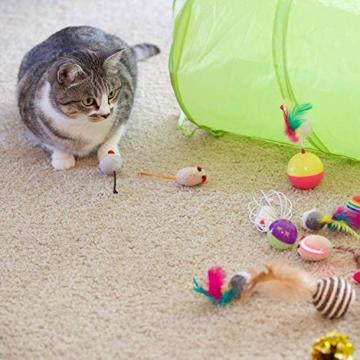 Sunshine smile katzenspielzeug Set mit katzentunnel,Katzenspielzeug Set mit Bälle Federspielzeug,katzenspielzeug Pack,Kätzchen Maus Spielzeug Set,Katze Toys Variety Pack (21 Pack) - 4