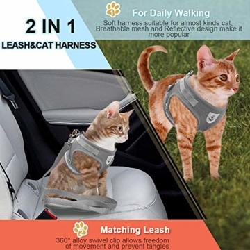 Supet Katzengeschirr Geschirr für Katzen Welpengeschirr Weich Kaninchengarnitur Katzen Weste mit Leine für Kitten Hunde Chihuahua - 7