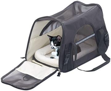 Sweetypet Hundetasche: Hand- & Auto-Transporttasche für Haustiere bis 8 kg, Größe M, schwarz (Transporttasche Katze) - 1