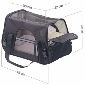 Sweetypet Hundetasche: Hand- & Auto-Transporttasche für Haustiere bis 8 kg, Größe M, schwarz (Transporttasche Katze) - 5