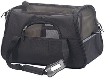 Sweetypet Hundetasche: Hand- & Auto-Transporttasche für Haustiere bis 8 kg, Größe M, schwarz (Transporttasche Katze) - 7