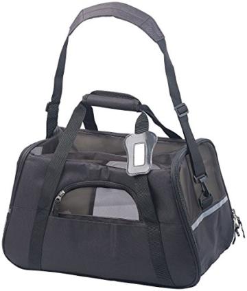 Sweetypet Hundetasche: Hand- & Auto-Transporttasche für Haustiere bis 8 kg, Größe M, schwarz (Transporttasche Katze) - 8