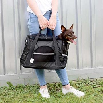 Sweetypet Hundetasche: Hand- & Auto-Transporttasche für Haustiere bis 8 kg, Größe M, schwarz (Transporttasche Katze) - 9
