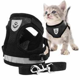 Toulifly Katzengeschirr,Katzengeschirr Ausbruchsicher,Katzengeschirr und Leine Set,Katze Geschirr,360° Wrap-Around Kleine Katze und Hunde Geschirr Pufferwirkung und Fluchtwiderstand (M) - 1