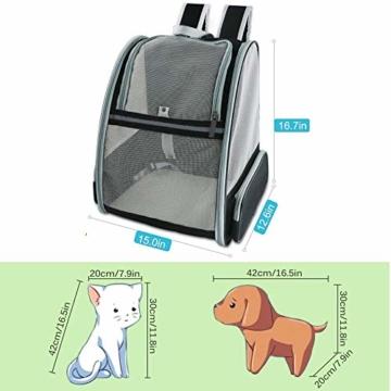 Transporttasche Rucksack für Haustiere Hunde Katzen - Große Netztasche Faltbar, Atmungsaktiv Geräumig mit Drahtstruktur, Haustiertragetasche Stabile für Draussen Reisen Großer Raum Airline Genehmigt - 3