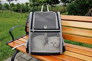 Transporttasche Rucksack für Haustiere Hunde Katzen - Große Netztasche Faltbar, Atmungsaktiv Geräumig mit Drahtstruktur, Haustiertragetasche Stabile für Draussen Reisen Großer Raum Airline Genehmigt - 7
