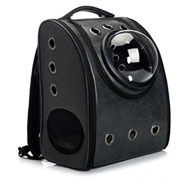TXXCI Astronauten-Raum-Kapsel-Haustier-Rucksack Weichbreathable Reise Katze Rucksack Beutel für Katzen und Hunde 32*29*42cm - Schwarz - 3