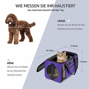 Vailge Transportbox Katze Transportbox Hund Faltbare Katzentransportbox, Transporttasche für Haustiere im Flugzeug Transportbox für Haustiere Katze Mittel Kleine Hunde 15lbs (Lila) - 3