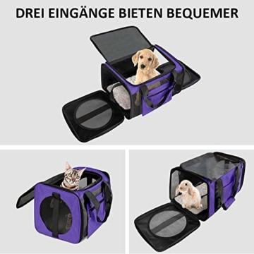 Vailge Transportbox Katze Transportbox Hund Faltbare Katzentransportbox, Transporttasche für Haustiere im Flugzeug Transportbox für Haustiere Katze Mittel Kleine Hunde 15lbs (Lila) - 5