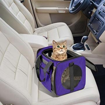 Vailge Transportbox Katze Transportbox Hund Faltbare Katzentransportbox, Transporttasche für Haustiere im Flugzeug Transportbox für Haustiere Katze Mittel Kleine Hunde 15lbs (Lila) - 6