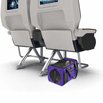 Vailge Transportbox Katze Transportbox Hund Faltbare Katzentransportbox, Transporttasche für Haustiere im Flugzeug Transportbox für Haustiere Katze Mittel Kleine Hunde 15lbs (Lila) - 9
