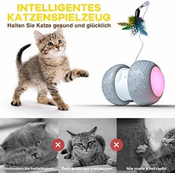 Ventvinal Katzenspielzeug Elektrischer Interaktives Ball,Automatischer Drehender Katzenball mit USB-Aufladung des LED-Lichts,Katzen Roller Ball Intelligenzspielzeug für Cat Haustiereignung - 2
