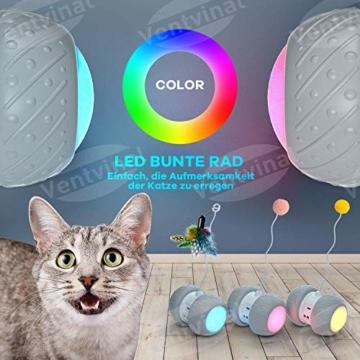 Ventvinal Katzenspielzeug Elektrischer Interaktives Ball,Automatischer Drehender Katzenball mit USB-Aufladung des LED-Lichts,Katzen Roller Ball Intelligenzspielzeug für Cat Haustiereignung - 3
