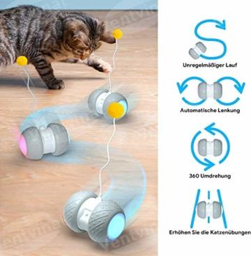 Ventvinal Katzenspielzeug Elektrischer Interaktives Ball,Automatischer Drehender Katzenball mit USB-Aufladung des LED-Lichts,Katzen Roller Ball Intelligenzspielzeug für Cat Haustiereignung - 4