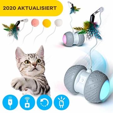 Ventvinal Katzenspielzeug Elektrischer Interaktives Ball,Automatischer Drehender Katzenball mit USB-Aufladung des LED-Lichts,Katzen Roller Ball Intelligenzspielzeug für Cat Haustiereignung - 1
