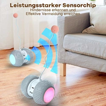 Ventvinal Katzenspielzeug Elektrischer Interaktives Ball,Automatischer Drehender Katzenball mit USB-Aufladung des LED-Lichts,Katzen Roller Ball Intelligenzspielzeug für Cat Haustiereignung - 6