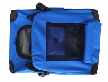 weico Hundebox Transportbox Auto Hundetransportbox faltbar Katzenbox Katzentransportbox Oxford Gewebe Tragetasche Hund Katze Haustier, (L = 70 x 52 x 52, blau) - 2
