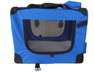 weico Hundebox Transportbox Auto Hundetransportbox faltbar Katzenbox Katzentransportbox Oxford Gewebe Tragetasche Hund Katze Haustier, (L = 70 x 52 x 52, blau) - 3