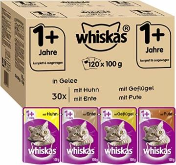 Whiskas 1 + Katzenfutter , Geflügel-Auswahl in Gelee, 120 x 100g - 1