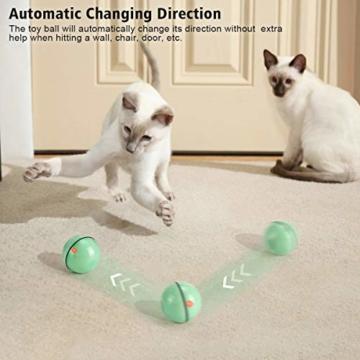 WWVVPET Interaktives Katzenspielzeug Ball mit LED-Licht, selbstdrehender 360-Grad-Ball, wiederaufladbares interaktives USB-Katzenspielzeug, zur Stimulierung des Jagdtriebs Lustiges Jäger-Spielzeug - 3