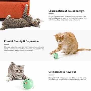 WWVVPET Interaktives Katzenspielzeug Ball mit LED-Licht, selbstdrehender 360-Grad-Ball, wiederaufladbares interaktives USB-Katzenspielzeug, zur Stimulierung des Jagdtriebs Lustiges Jäger-Spielzeug - 4