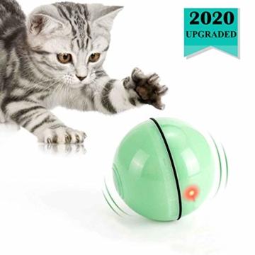 WWVVPET Interaktives Katzenspielzeug Ball mit LED-Licht, selbstdrehender 360-Grad-Ball, wiederaufladbares interaktives USB-Katzenspielzeug, zur Stimulierung des Jagdtriebs Lustiges Jäger-Spielzeug - 1