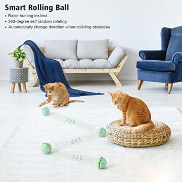 WWVVPET Interaktives Katzenspielzeug Ball mit LED-Licht, selbstdrehender 360-Grad-Ball, wiederaufladbares interaktives USB-Katzenspielzeug, zur Stimulierung des Jagdtriebs Lustiges Jäger-Spielzeug - 7
