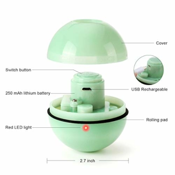 WWVVPET Interaktives Katzenspielzeug Ball mit LED-Licht, selbstdrehender 360-Grad-Ball, wiederaufladbares interaktives USB-Katzenspielzeug, zur Stimulierung des Jagdtriebs Lustiges Jäger-Spielzeug - 8