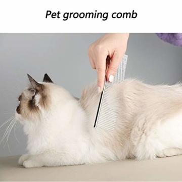 XXDYF Haustierpflege-Set für Katzen und Hunde, Katzenpflegeset Katzen Nagelknipser Haustierkamm Nagelschneider für Katze und Hund Universal,Weiß - 5